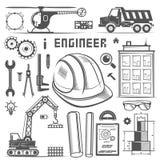 Stile del disegno dell'ingegnere delle icone illustrazione di stock