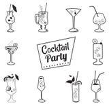 Stile del fumetto dei cocktail delle icone, bevande menu, caffè, ristoranti Immagini Stock Libere da Diritti