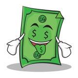 Stile del fumetto del carattere del dollaro del fronte della bocca dei soldi Immagini Stock Libere da Diritti