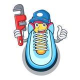 Stile del fumetto della mascotte della scarpa da tennis dell'idraulico illustrazione vettoriale