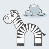 Stile del fumetto della zebra, arte di vettore per i bambini illustrazione di stock