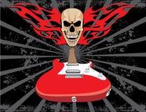 Stile del grunge del cranio e della chitarra Fotografia Stock Libera da Diritti