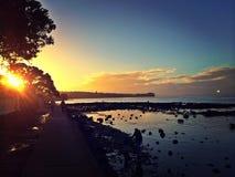 Stile del nord della riva di tramonto fotografia stock