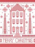 Stile del nordico di inverno di Buon Natale illustrazione di stock