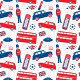 Simboli di Londra - patten senza cuciture Fotografie Stock