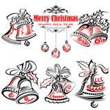 Stile del tatuaggio del Natale Jingle Bells Immagini Stock Libere da Diritti