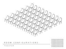 Stile del teatro di configurazione della disposizione di messa a punto della sala riunioni illustrazione vettoriale