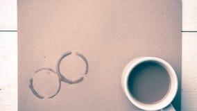 Stile dell'annata della macchia della tazza di caffè Fotografie Stock