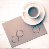 Stile dell'annata della macchia della tazza di caffè Immagini Stock Libere da Diritti