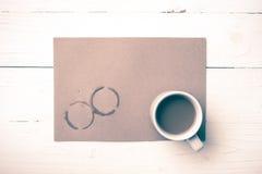 Stile dell'annata della macchia della tazza di caffè Immagine Stock