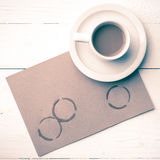 Stile dell'annata della macchia della tazza di caffè Fotografia Stock