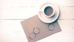 Stile dell'annata della macchia della tazza di caffè Fotografia Stock Libera da Diritti
