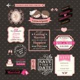 Stile dell'annata delle etichette e delle strutture degli elementi di nozze Fotografia Stock Libera da Diritti