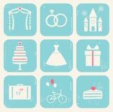 Stile dell'annata delle icone di nozze Fotografia Stock Libera da Diritti