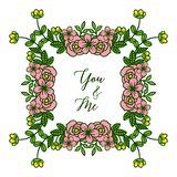 Stile dell'illustrazione di vettore della carta voi e me per le strutture molto belle del fiore della foglia royalty illustrazione gratis