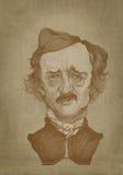 Stile dell'incisione del ritratto di seppia di Edgar Allan Poe Fotografie Stock