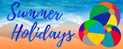 Stile dell'insegna di vacanze estive con i beach ball Immagine Stock