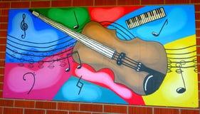 Stile della Nuova Zelanda di arte della via: murale di una chitarra Immagini Stock