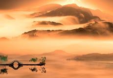 Stile della pittura del paesaggio del cinese Fotografie Stock Libere da Diritti