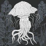 Stile delle meduse in bianco e nero royalty illustrazione gratis