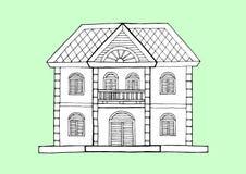 Stile di architettura della casa di pan di zenzero, illustrazione disegnata a mano di progettazione di vettore Immagini Stock Libere da Diritti