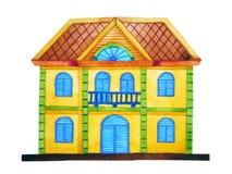 Stile di architettura della casa di pan di zenzero, pittura disegnata a mano dell'acquerello Fotografia Stock