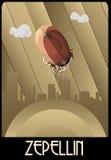 Stile di art deco dell'illustrazione dello zeppelin Immagine Stock Libera da Diritti