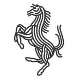 Stile di arte di simbolo del cavallo La linea vettore illustra illustrazione di stock