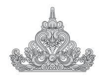 Stile di balinese La cima della decorazione del tetto Arte di pietra tradizionale Illustrazione di Stock