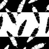 Stile di bianco del nero della banda delle foglie di palma della siluetta del modello Immagine Stock