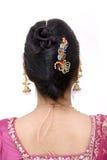 Stile di capelli di una donna indiana Immagini Stock