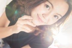 Stile di capelli, donne dell'Asia del ritratto fotografia stock
