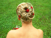 Stile di capelli nuziale Fotografie Stock Libere da Diritti