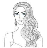 Stile di capelli sexy di disegno dello zentangle della donna per il libro da colorare per l'adulto illustrazione di stock