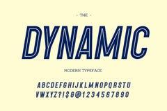 Stile di caratteri sans serif inclinato carattere moderno dinamico di vettore illustrazione di stock