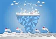 Stile di carta di arte, città per il Natale con il fiocco di neve e Santa Individuato sul poligono dell'isola Immagini Stock Libere da Diritti