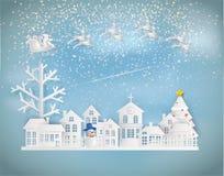 Stile di carta di arte del Buon Natale e del buon anno Santa Cla immagini stock libere da diritti