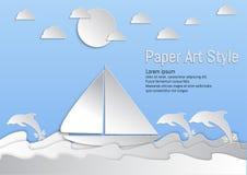 stile di carta di arte Mare ed onde con la barca a vela ed il delfino Illustrazione di vettore royalty illustrazione gratis