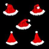 Stile di colore rosso cinque del nero dell'isolato del cappello di natale Immagini Stock Libere da Diritti