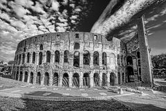 Stile di Colosseum in bianco e nero, Roma, Italia Fotografia Stock