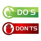 Stile di Dos Donts Red Green Button Immagini Stock Libere da Diritti