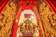 Stile di lanna del tempio di Wat Ming Muang, Chiang Rai, Tailandia immagine stock libera da diritti