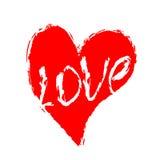 Stile di lerciume del cuore Simbolo di struttura della spazzola di amore Gocce di vernice illustrazione di stock