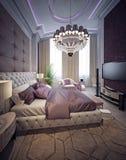 Stile di lusso di neoclassicismo della camera da letto Fotografia Stock