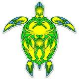 Stile di Marine Life Abstract Symbol Tattoo della scogliera della tartaruga di mare illustrazione di stock