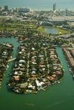 Linea costiera della città di Miami Immagini Stock