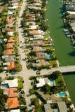 Vista aerea di zona residenziale a Miami Fotografia Stock Libera da Diritti
