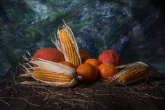 Stile di natura morta di frutta asciutta sul pavimento di legno immagini stock