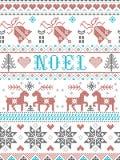 Stile di Noel Scandinavian del modello di Natale, ispirato dalla cultura festiva norvegese di inverno, senza cuciture, in punto t royalty illustrazione gratis
