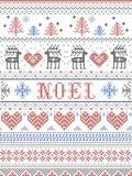 Stile di Noel Scandinavian del modello di Natale, ispirato dalla cultura festiva norvegese di inverno, senza cuciture, in punto t illustrazione di stock